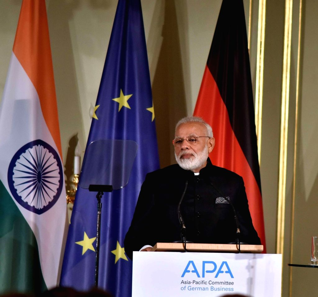 Prime Minister Narendra Modi addresses the Indo-German Business Summit – 2017, jointly organised by APA, CII & FICCI, in Berlin, Germany on May 30, 2017. - Narendra Modi