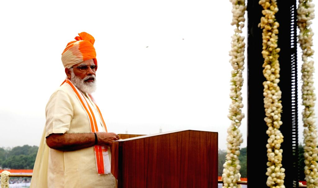 Prime Minister Narendra Modi addresses the nation on the occasion of the 74th Independence Day, from the ramparts of Red Fort in Delhi on Aug 15, 2020. - Narendra Modi