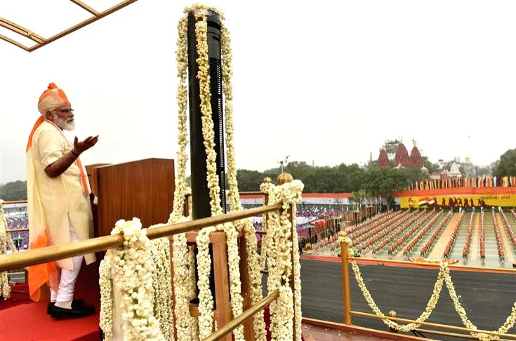 Prime Minister Narendra Modi addresses the nation on the occasion of 74th Independence Day from the ramparts of Red Fort, in New Delhi on Aug 15, 2020. - Narendra Modi