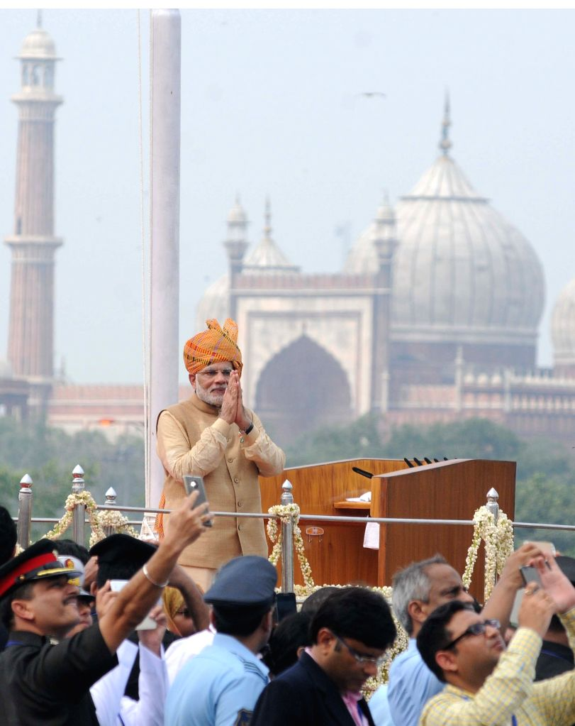 Prime Minister Narendra Modi addresses the nation on the occasion of 69th Independence Day from the ramparts of Red Fort, in Delhi on August 15, 2015. - Narendra Modi