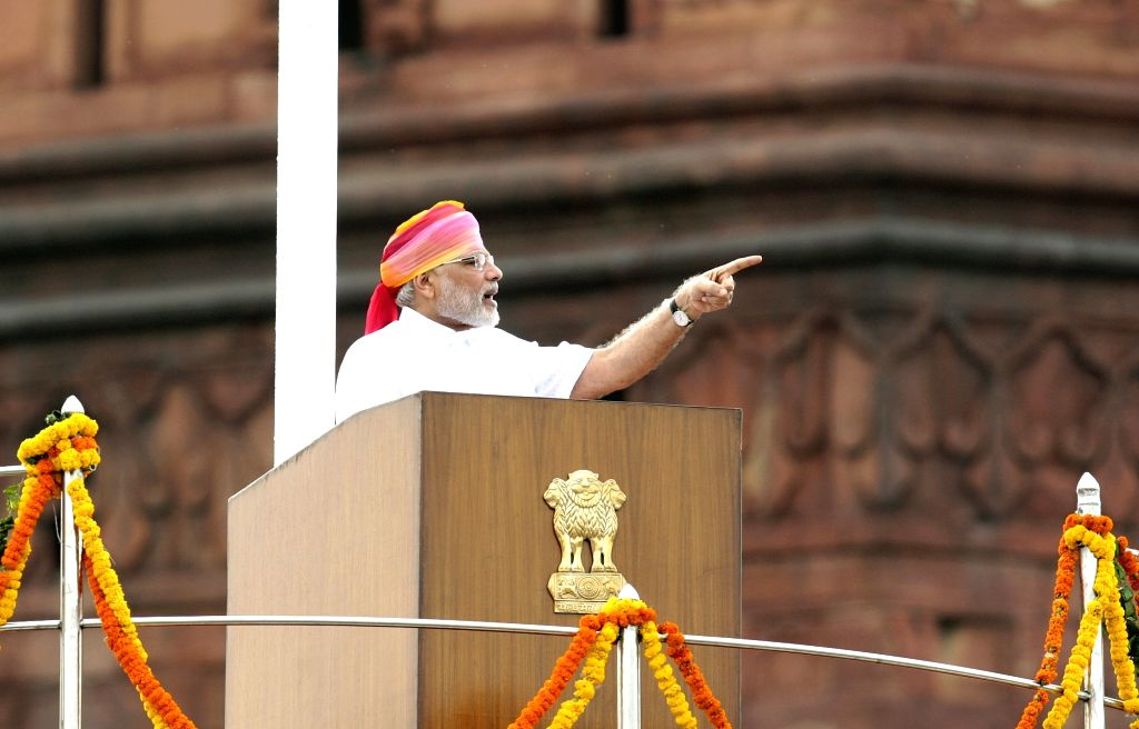 Prime Minister Narendra Modi addresses the nation on the 70th Independence Day from the ramparts of Red Fort, in Delhi on Aug 15, 2016. - Narendra Modi