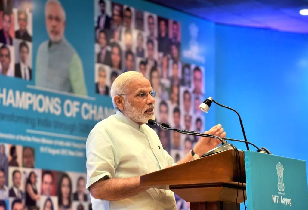 Prime Minister Narendra Modi addresses the young entrepreneurs at the Champions ofChange programme organised by the NITI Aayog in New Delhi on Aug 17, 2017. - Narendra Modi
