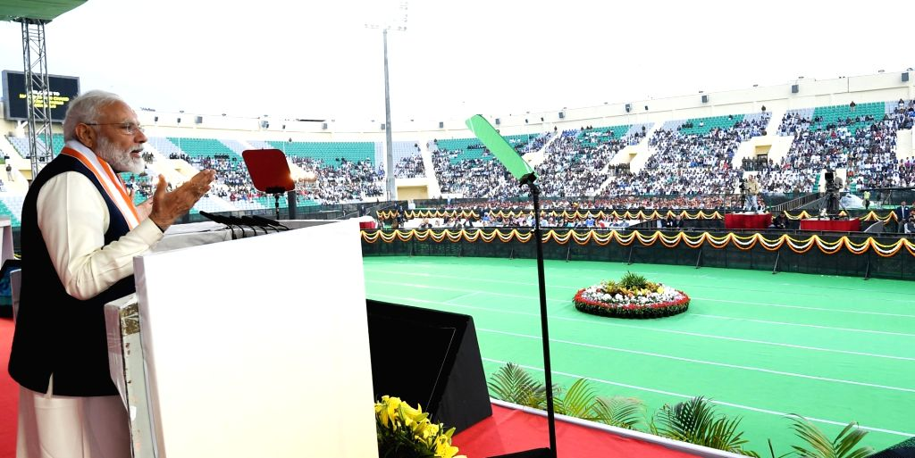 Prime Minister Narendra Modi addressing a gathering of ex-servicemen during the inauguration of the National War Museum (NWM) at the National Stadium on Feb 25, 2019. - Narendra Modi