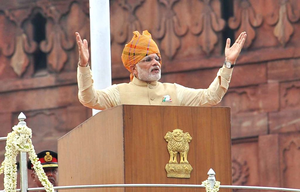Prime Minister Narendra Modi addressing the Nation on the occasion of 69th Independence Day from the ramparts of Red Fort, in Delhi on August 15, 2015. - Narendra Modi