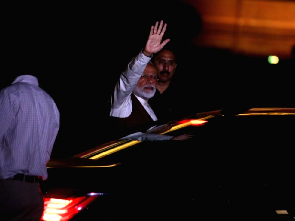 Prime Minister Narendra Modi after meeting President Ram Nath Kovind at Rashtrapati Bhavan in New Delhi, on May 25, 2019. - Narendra Modi and Nath Kovind