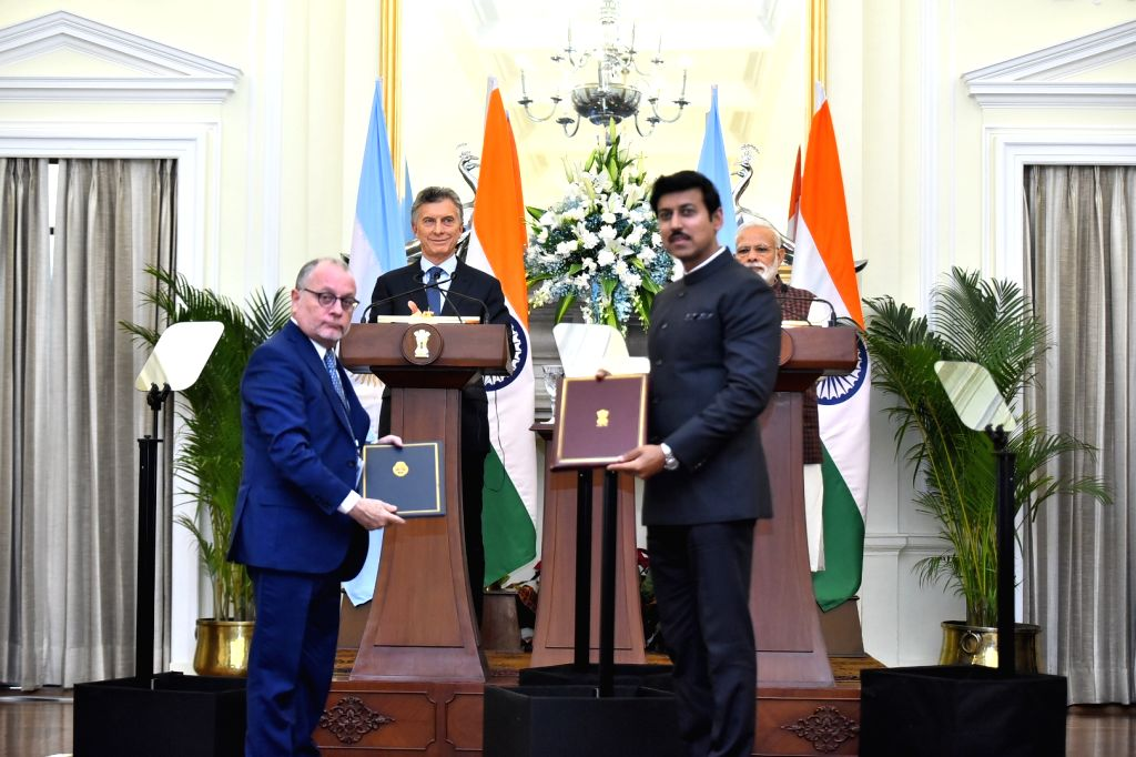 Prime Minister Narendra Modi and Argentine President Mauricio Macri witness the exchange of agreements between India-Argentina, in New Delhi, on Feb 18, 2019. - Narendra Modi