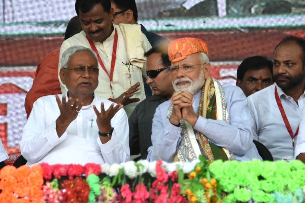 Prime Minister Narendra Modi and Bihar Chief Minister Nitish Kumar during a public rally in Darbhanga, Bihar, on April 25, 2019. - Narendra Modi and Nitish Kumar
