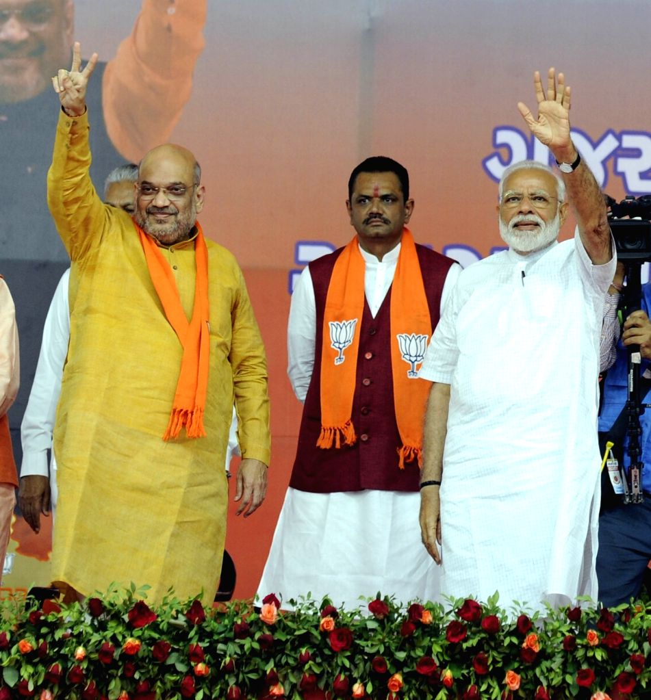 Prime Minister Narendra Modi and BJP chief Amit Shah during a public meeting in Ahmedabad on May 26, 2019. - Narendra Modi and Amit Shah