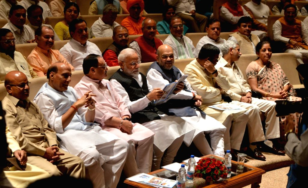 Prime Minister Narendra Modi and BJP Working President J.P. Nadda with Union Ministers Thawar Chand Gehlot, Rajnath Singh, Amit Shah, Dharmendra Pradhan, Subrahmanyam Jaishankar and ... - Narendra Modi, Thawar Chand Gehlot, Rajnath Singh, Amit Shah, Dharmendra Pradhan, Subrahmanyam Jaishankar and Nirmala Sitharaman