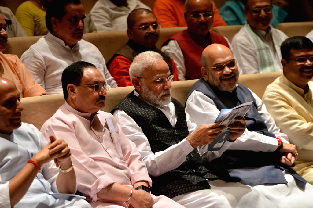 Prime Minister Narendra Modi and BJP Working President J.P. Nadda with Union Ministers Rajnath Singh, Amit Shah and Dharmendra Pradhan during the BJP parliamentary party meeting at ... - Narendra Modi, Ministers Rajnath Singh, Amit Shah and Dharmendra Pradhan