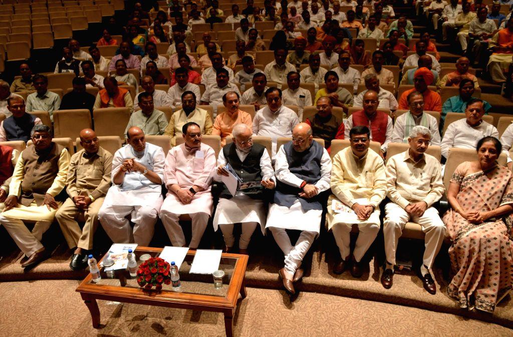 Prime Minister Narendra Modi and BJP Working President J.P. Nadda with Union Ministers Ravi Shankar Prasad, Thawar Chand Gehlot, Rajnath Singh, Amit Shah, Dharmendra Pradhan, Subrahmanyam ... - Narendra Modi, Ravi Shankar Prasad, Thawar Chand Gehlot, Rajnath Singh, Amit Shah, Dharmendra Pradhan, Subrahmanyam Jaishankar and Nirmala Sitharaman