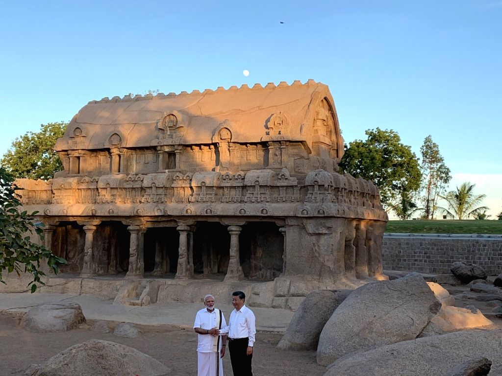 Prime Minister Narendra Modi and Chinese President Xi Jinping during their visit to Pancha Rathas complex in Mahabalipuram, Tamil Nadu on Oct 11, 2019. - Narendra Modi