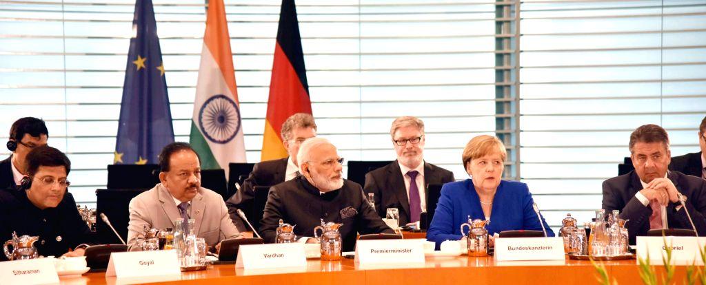 Prime Minister Narendra Modi and German Chancellor Angela Merkel at Plenary Meeting of Inter-Governmental Consultations in Berlin, Germany on May 30, 2017. - Narendra Modi