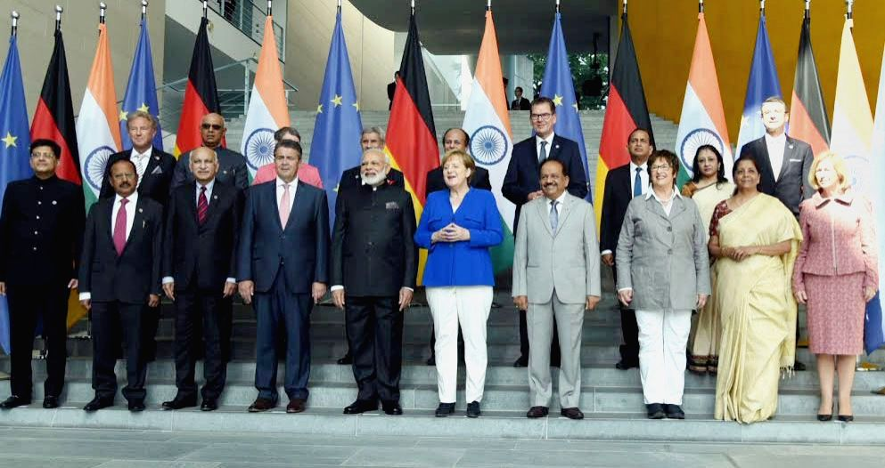 Prime Minister Narendra Modi and German Chancellor, Dr. Angela Merkel in a group photograph, during the Plenary Meeting of the Inter-Governmental Consultations, in Berlin, Germany on May 30, ... - Narendra Modi