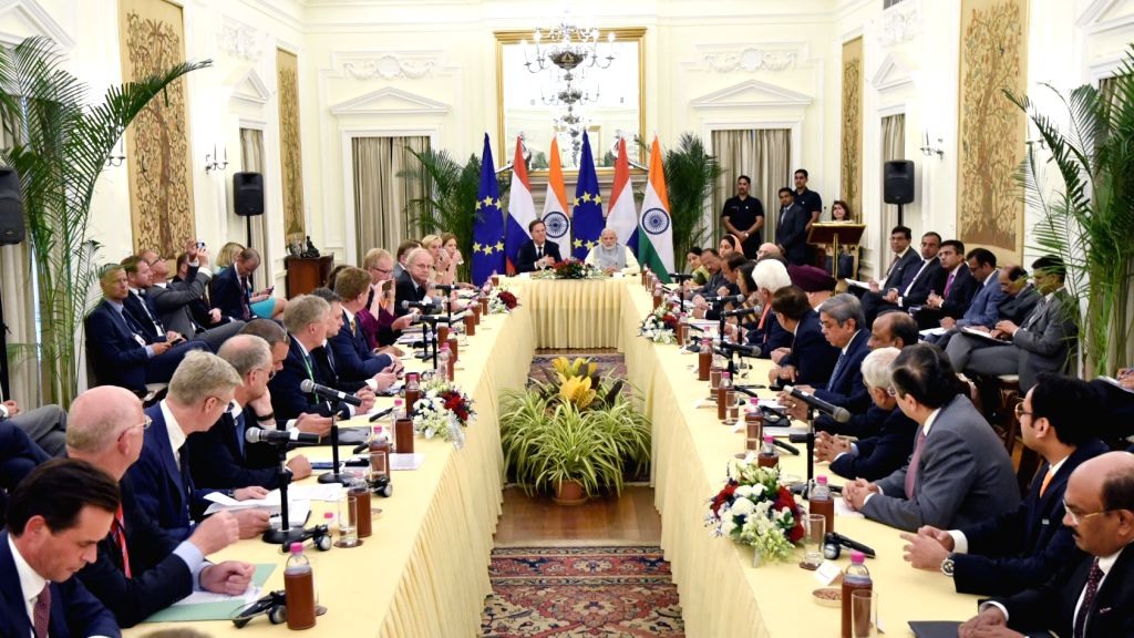 Prime Minister Narendra Modi and his Dutch counterpart Mark Rutte during the India-Netherlands CEOs Round table meeting, at Hyderabad House in New Delhi on May 24, 2018. - Narendra Modi