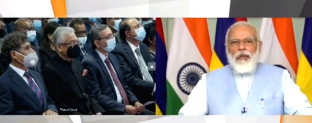 Prime Minister Narendra Modi and his Mauritian counterpart Pravind Jugnauth at the joint inauguration of the Mauritius Supreme Court building through video conferencing, on July 30, 2020. ... - Narendra Modi