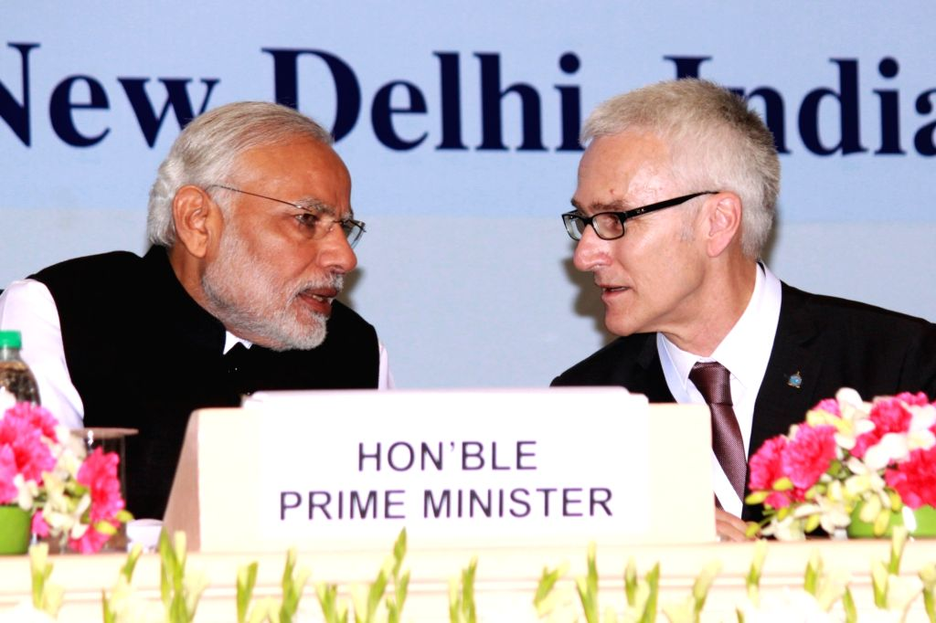 Prime Minister Narendra Modi and INTERPOL Secretary General Jurgen Stock at the Sixth Global Focal Point Conference on Asset Recovery, in New Delhi on Nov 18, 2015. - Narendra Modi