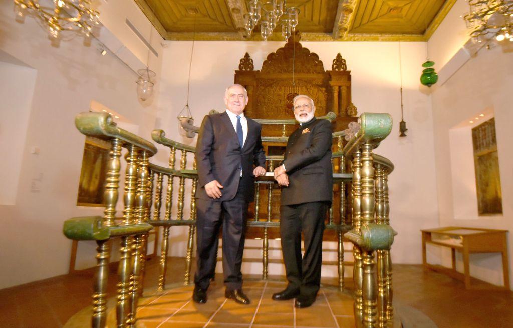 Prime Minister Narendra Modi and Israeli Prime Minister Benjamin Netanyahu at the Israeli Museum for Exhibition on India-Jewish Heritage, in Jerusalem, Israel on July 5, 2017. - Narendra Modi