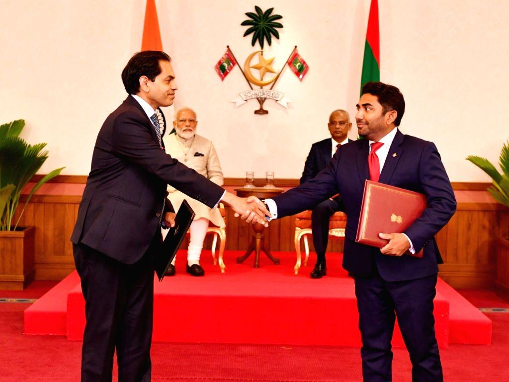 Prime Minister Narendra Modi and Maldives President Ibrahim Mohamed Solih witness exchange of agreements in Male, on June 8, 2019. - Narendra Modi
