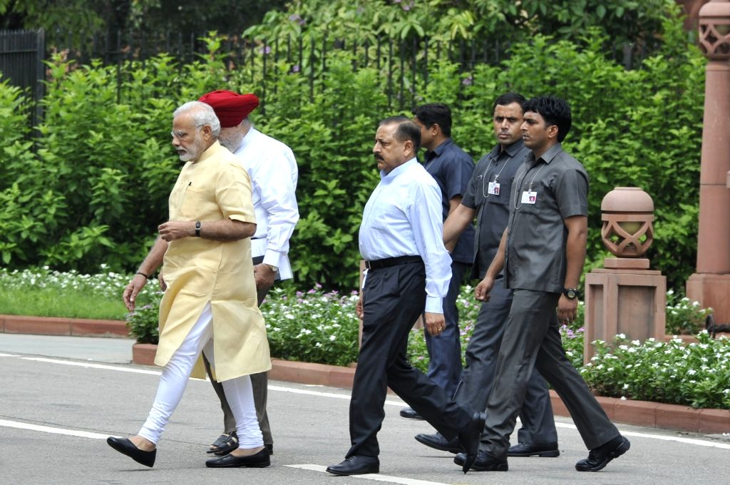 Prime Minister Narendra Modi and MoS Prime Minister's Office comes out after BJP parliamentary party meeting at Parliament in New Delhi, on Aug 2, 2016. - Narendra Modi