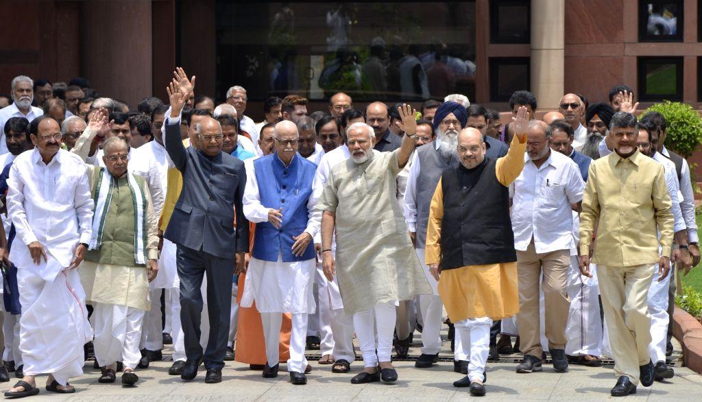 Prime Minister Narendra Modi and NDA presidential candidate Ram Nath Kovind with BJP leaders Venkaiah Naidu, Murli Manohar Joshi, LK Advani, Amit Shah, Telugu Desam Party (TDP) president ... - Narendra Modi, Venkaiah Naidu, Nath Kovind, Murli Manohar Joshi, Amit Shah and N. Chandrababu Naidu