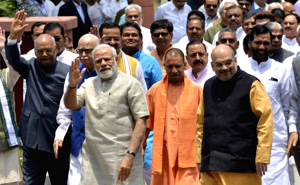 Prime Minister Narendra Modi and NDA presidential candidate Ram Nath Kovind with BJP leaders LK Advani, Amit Shah, and Yogi Adityanath, LJP chief Ramvilas Paswan and others  at Parliament ... - Narendra Modi, Nath Kovind and Amit Shah