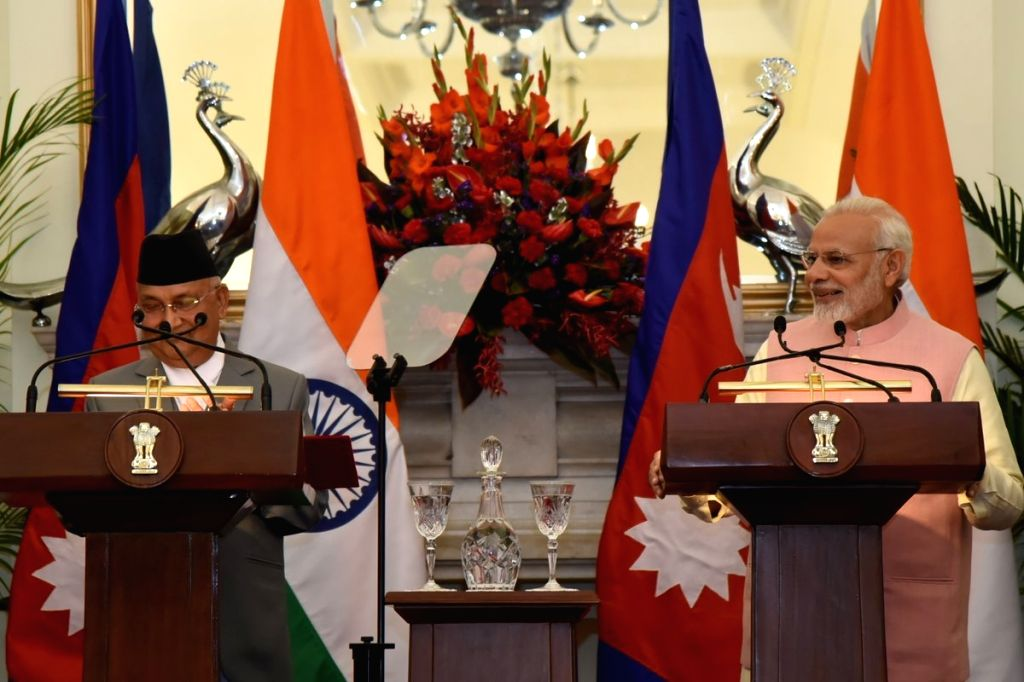 Prime Minister Narendra Modi and Nepalese Prime Minister K.P. Sharma Oli issue the Joint Press Statement at Hyderabad House in New Delhi on April 7, 2018. - Narendra Modi and P. Sharma Oli