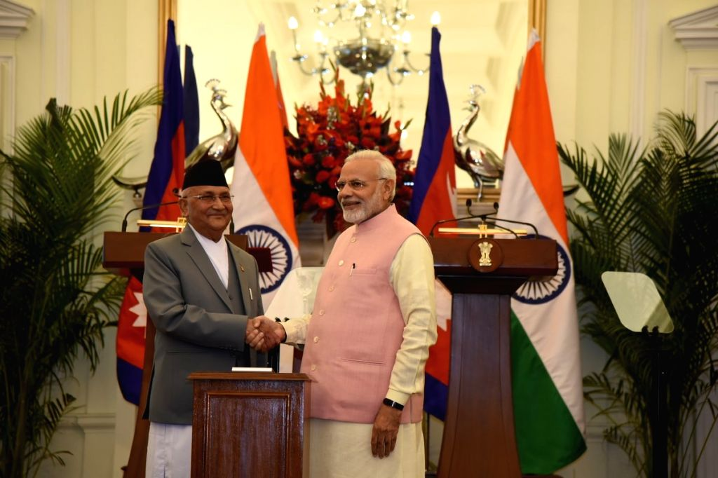 Prime Minister Narendra Modi and Nepalese Prime Minister K.P. Sharma Oli during the Joint Press Statement at Hyderabad House in New Delhi on April 7, 2018. - Narendra Modi and P. Sharma Oli