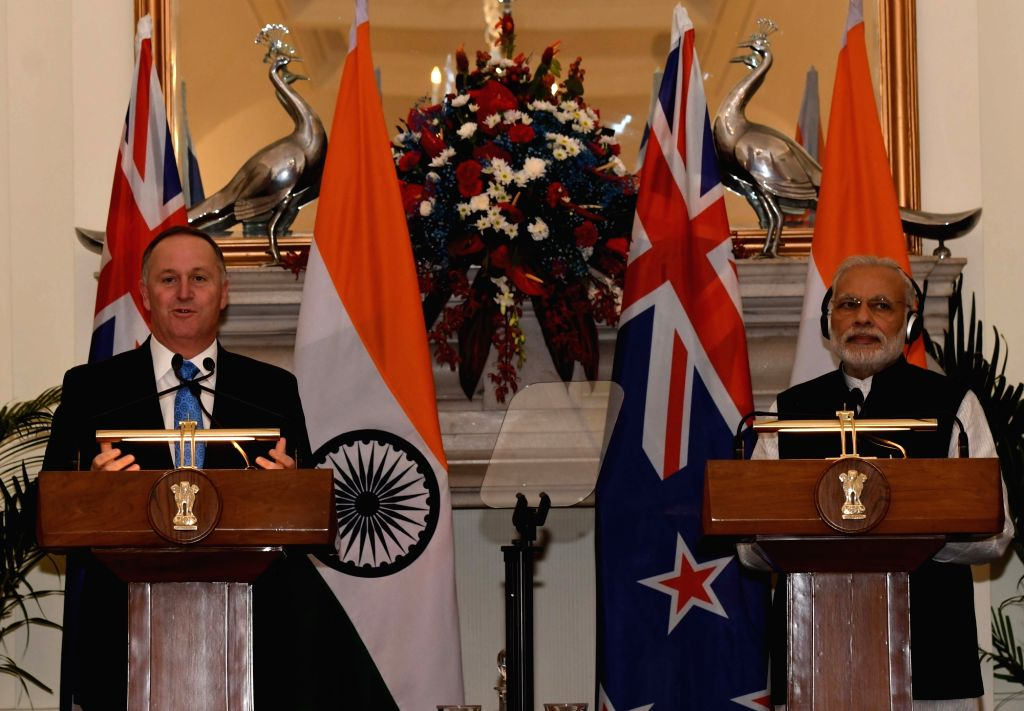 Prime Minister Narendra Modi and New Zealand Prime Minister John Key during a press conference at Hyderabad House, in New Delhi on Oct 26, 2016. - Narendra Modi