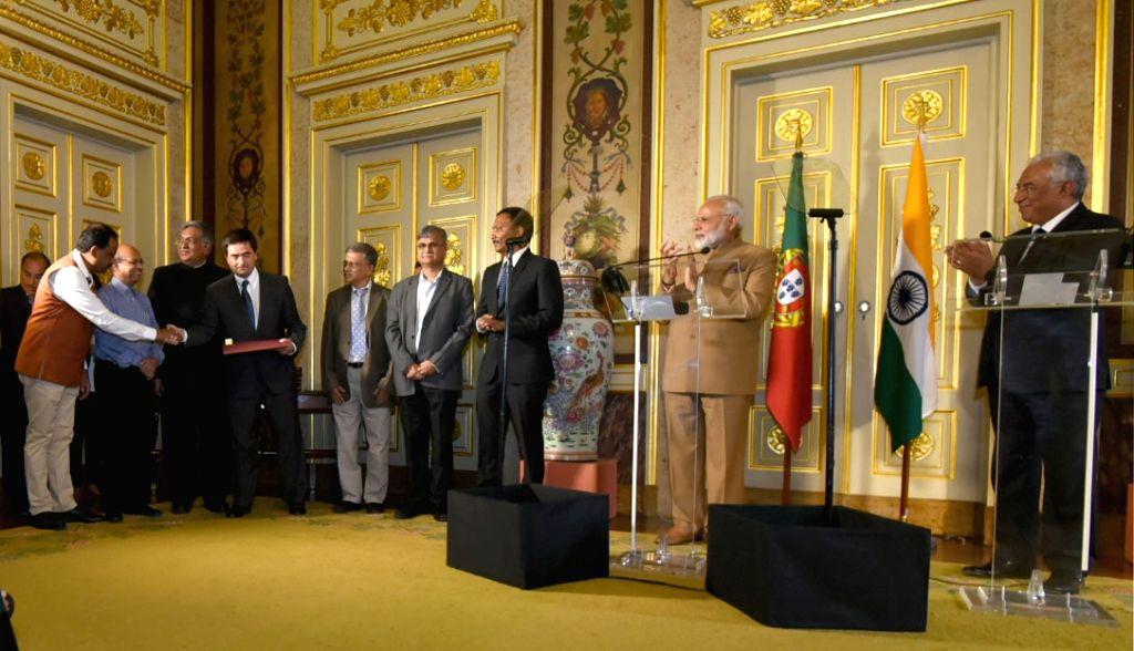 Prime Minister Narendra Modi and Portuguese counterpart Antonio Costa witnessing the MoU exchange between India and Portugal; in Lisbon, Portugal on June 24, 2017. - Narendra Modi