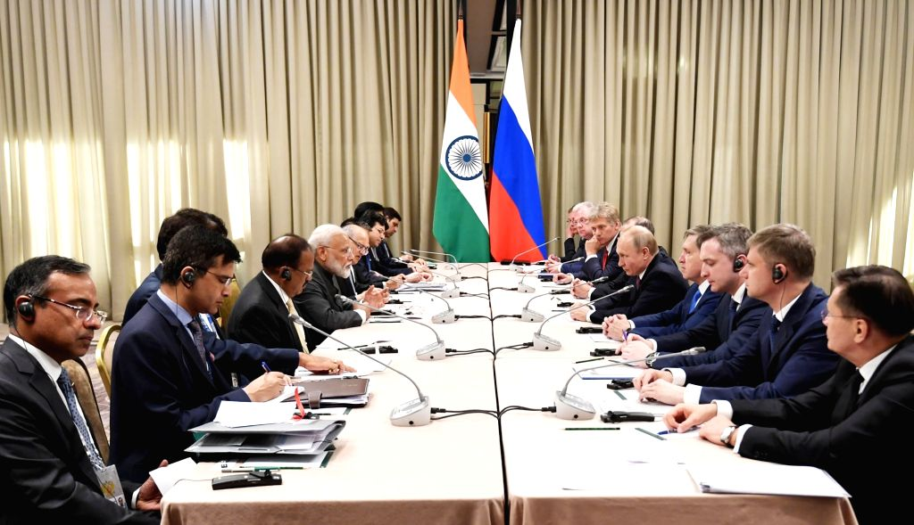 Prime Minister Narendra Modi and Russian President Vladimir Putin during a meeting on the sidelines of the SCO Summit in Bishkek, Kyrgyzstan on June 13, 2019. - Narendra Modi
