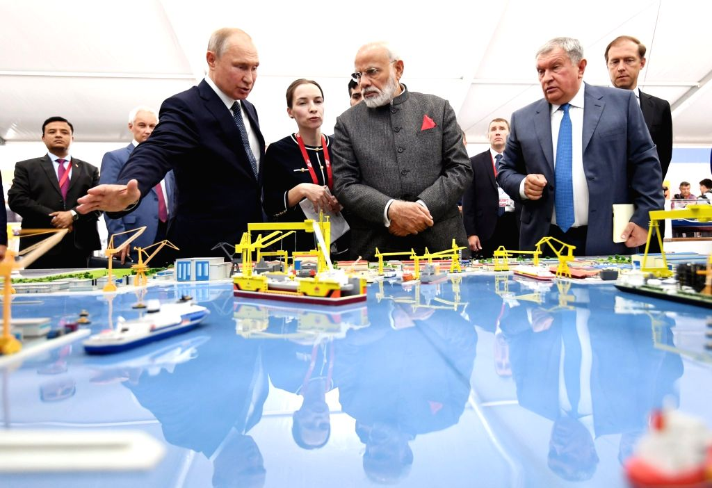 Prime Minister Narendra Modi and Russian President Vladimir Putin visit the Zvezda ship-building facility which is being expanded and has scope for foreign investment on Sep 4, 2019. The ... - Narendra Modi