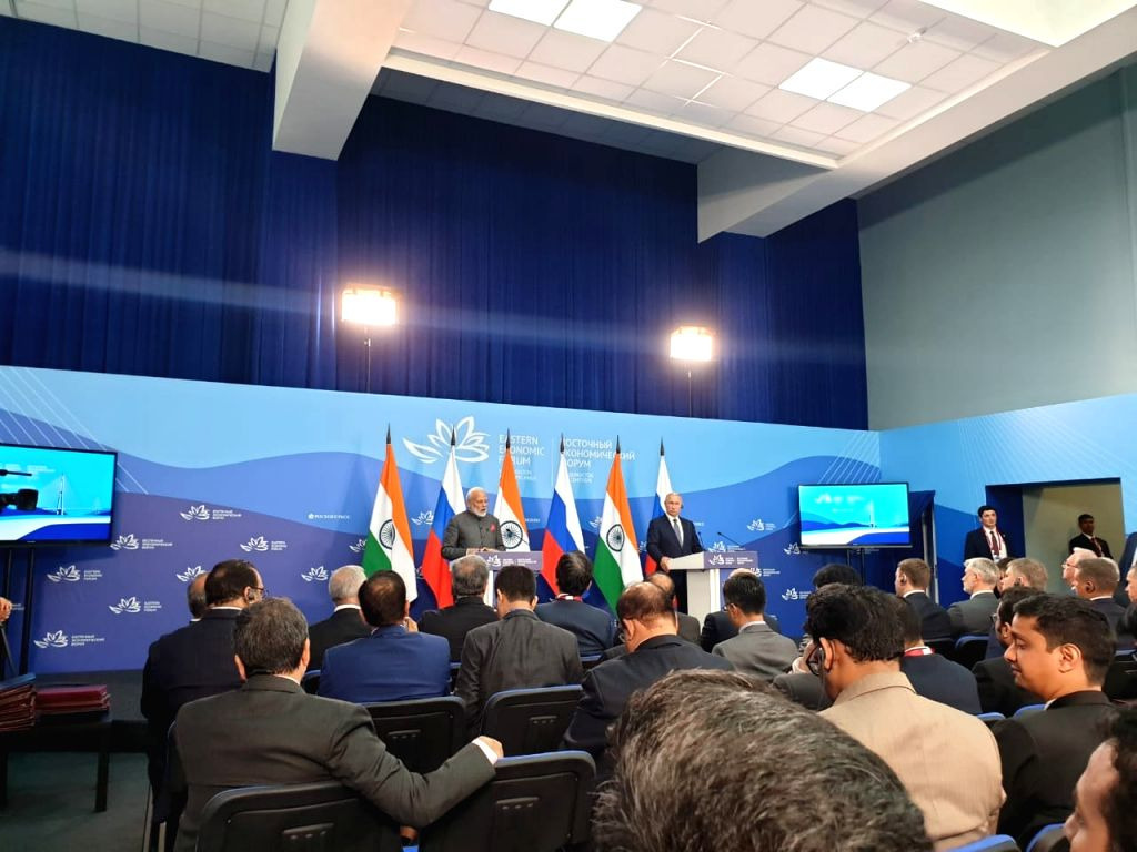 Prime Minister Narendra Modi and Russian President Vladimir Putin issue Joint Press Statement, in Vladivostok on Sep 4, 2019. - Narendra Modi