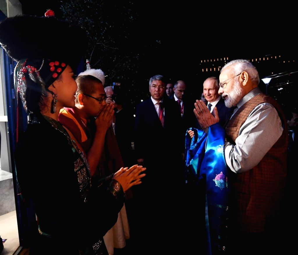 Prime Minister Narendra Modi and Russian President Vladimir Putin during the 'Street of the Far East' exhibition in Vladivostok 0n Sep 4, 2019. - Narendra Modi