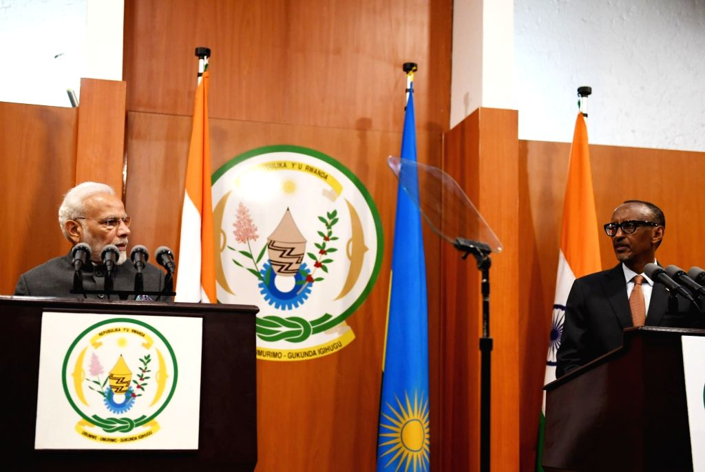 Prime Minister Narendra Modi and Rwanda President Paul Kagame during a joint press conference, in Rwanda's Kigali on July 23, 2018. - Narendra Modi