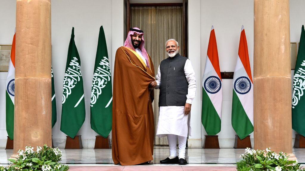 Prime Minister Narendra Modi and Saudi Crown Prince Mohammed bin Salman during a meeting at Hyderabad House, in New Delhi, on Feb 20, 2019. - Narendra Modi