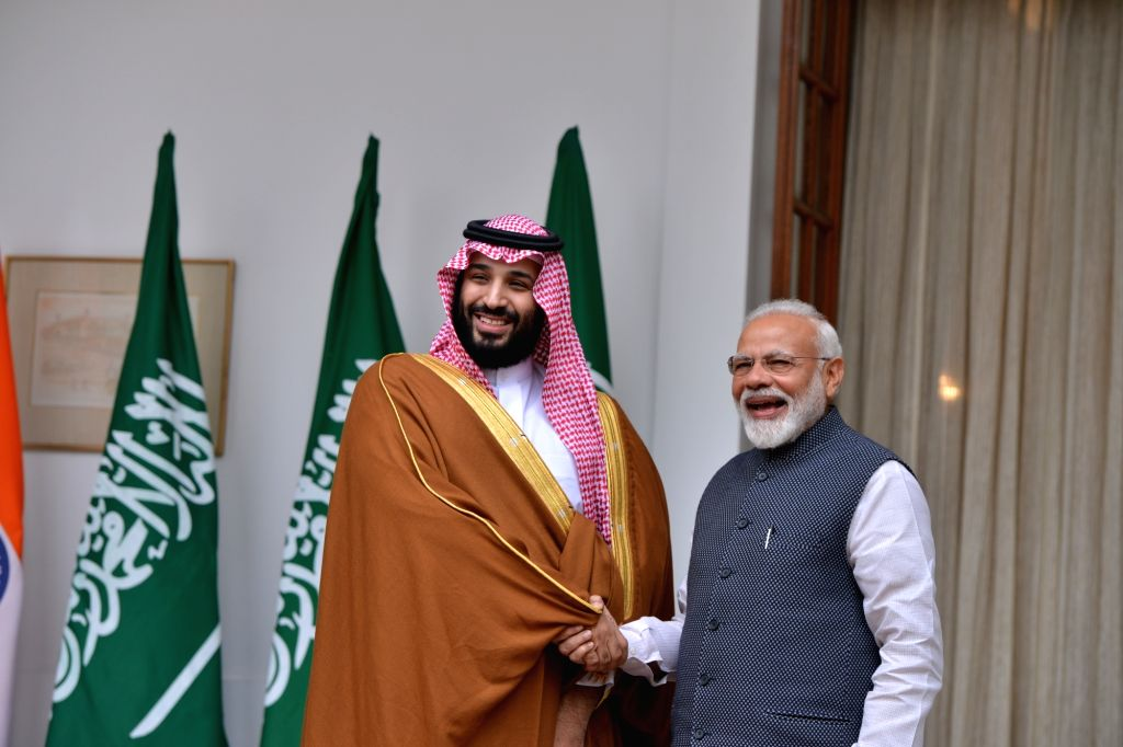 Prime Minister Narendra Modi and Saudi Crown Prince Mohammad Bin Salman during a meeting at Hyderabad House in New Delhi on Feb 20, 2019. - Narendra Modi