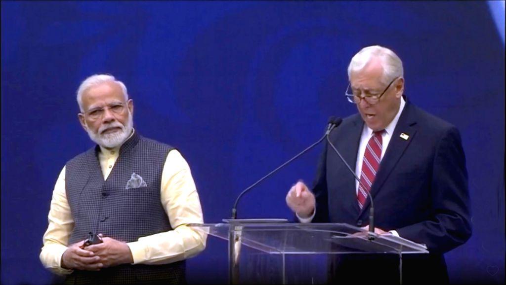 Prime Minister Narendra Modi and Senior Democratic Congressman Steny Hoyer during the 'Howdy Modi' event at NRG Stadium in Houston, USA, on Sep 22, 2019. - Narendra Modi