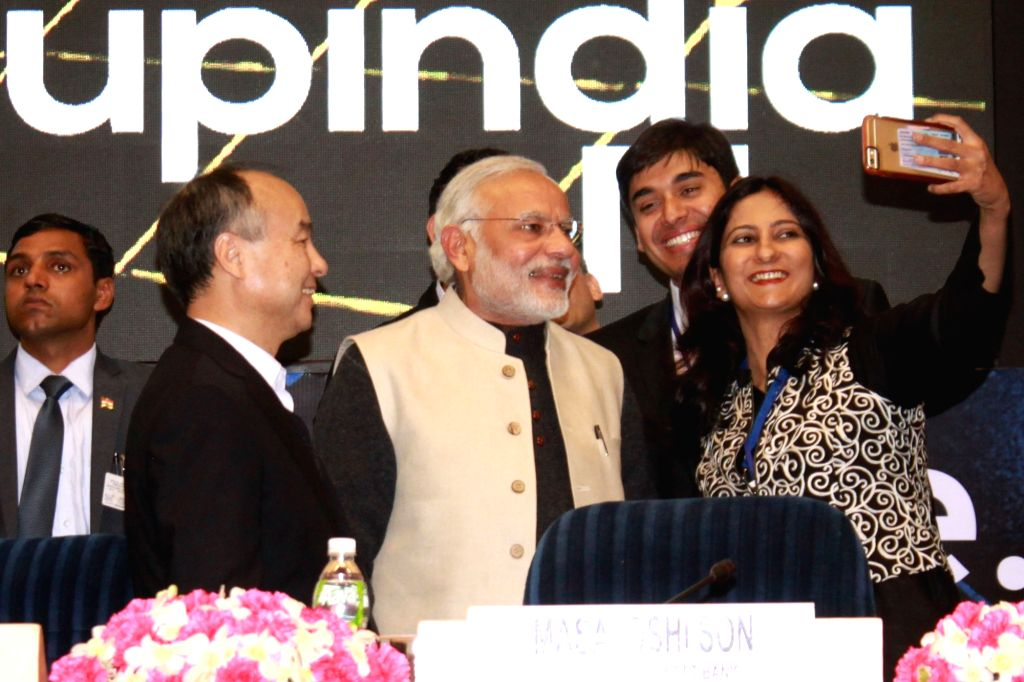 Prime Minister Narendra Modi and SoftBank Chairman and Chief Executive Masayoshi Son at the launch of `Start Up India`, in New Delhi on Jan 16, 2016. - Narendra Modi