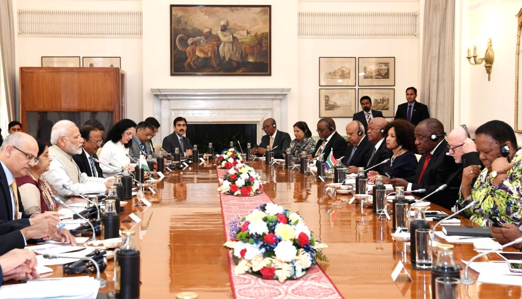 Prime Minister Narendra Modi and South African President Matamela Cyril Ramaphosa hold delegation level talks at Hyderabad House in New Delhi, on Jan 25, 2019. - Narendra Modi