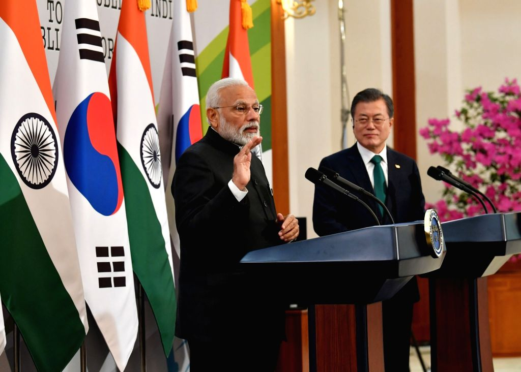 Prime Minister Narendra Modi and South Korea President Moon Jae-in during the joint press statement, in Seoul, South Korea, on Feb 22, 2019. - Narendra Modi