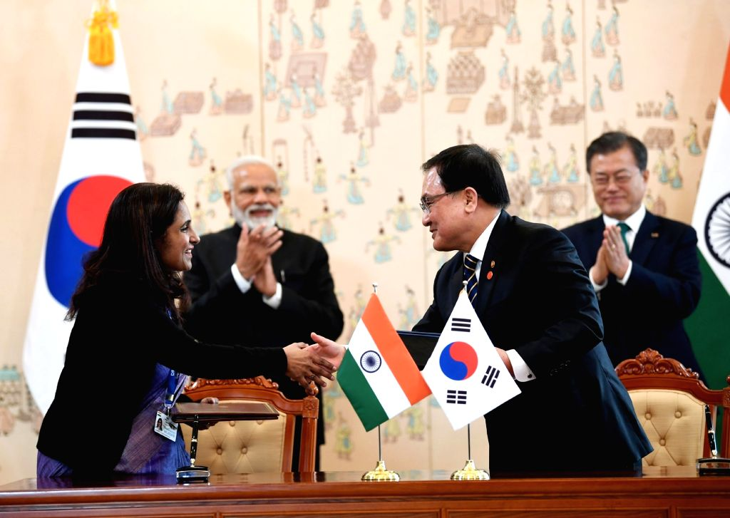 Prime Minister Narendra Modi and South Korea President Moon Jae-in witnesses the exchange of the MoUs between India and South Korea, in Seoul, South Korea, on Feb 22, 2019. - Narendra Modi
