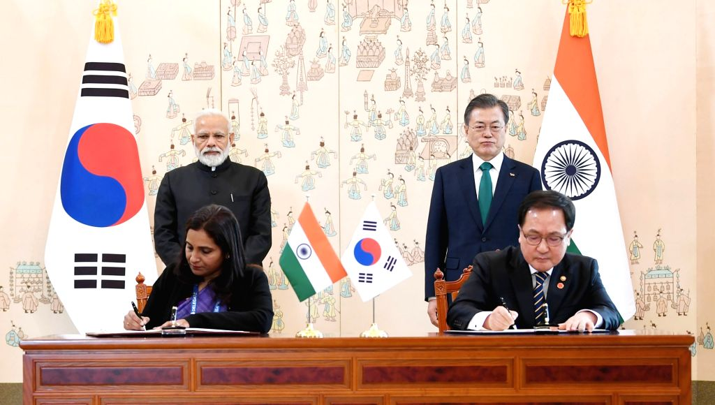 Prime Minister Narendra Modi and South Korea President Moon Jae-in witnesses the signing of the MoUs between India and South Korea, in Seoul, South Korea, on Feb 22, 2019. - Narendra Modi