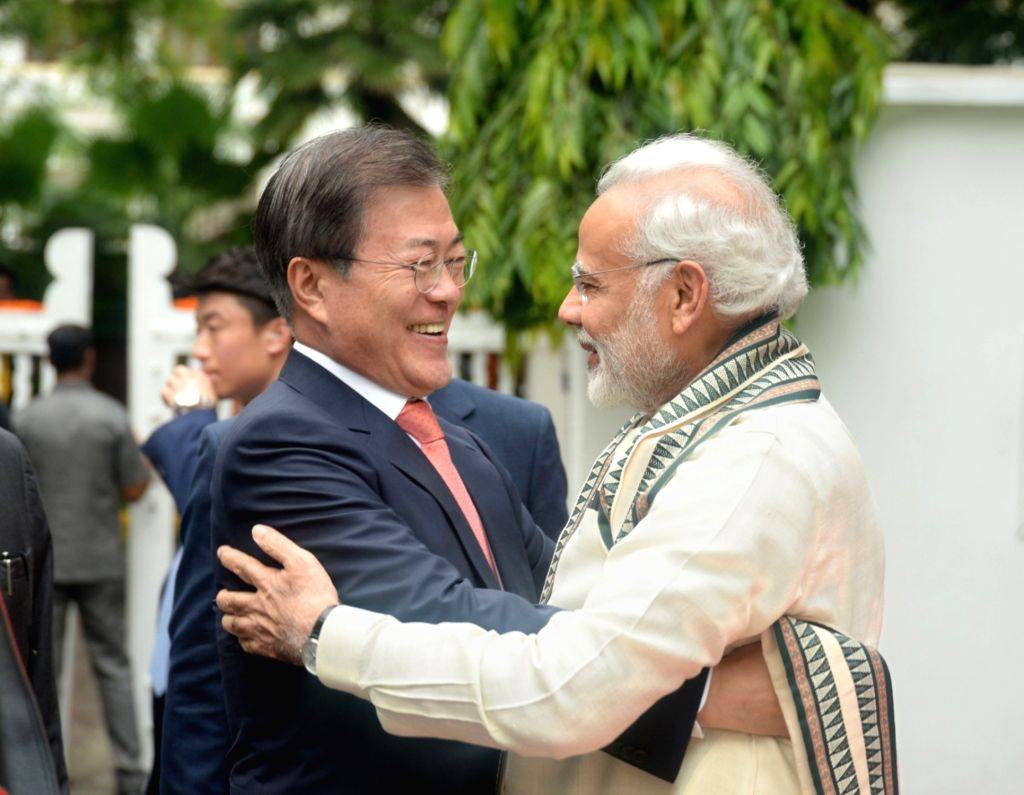 Prime Minister Narendra Modi and South Korean President Moon Jae-in during their visit to Gandhi Smriti, in New Delhi on July 9, 2018. - Narendra Modi