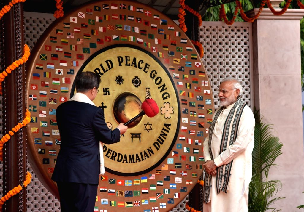 Prime Minister Narendra Modi and South Korean President Moon Jae-in visit World Peace Gong at Gandhi Smriti, in New Delhi on July 9, 2018. - Narendra Modi