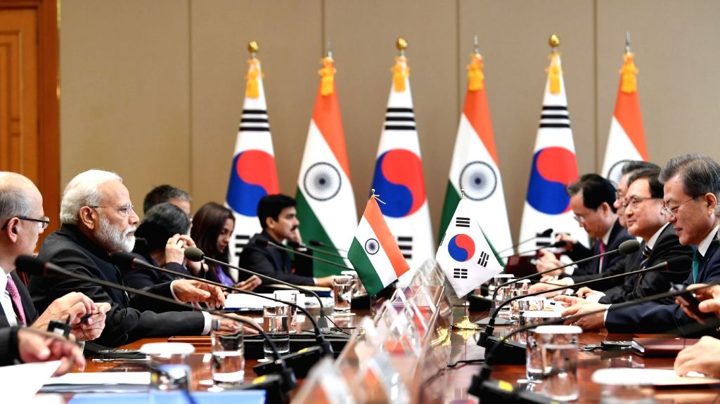 Prime Minister Narendra Modi and South Korean President Moon Jae-in during the delegation level talks, in Seoul, South Korea, on Feb 22, 2019. - Narendra Modi