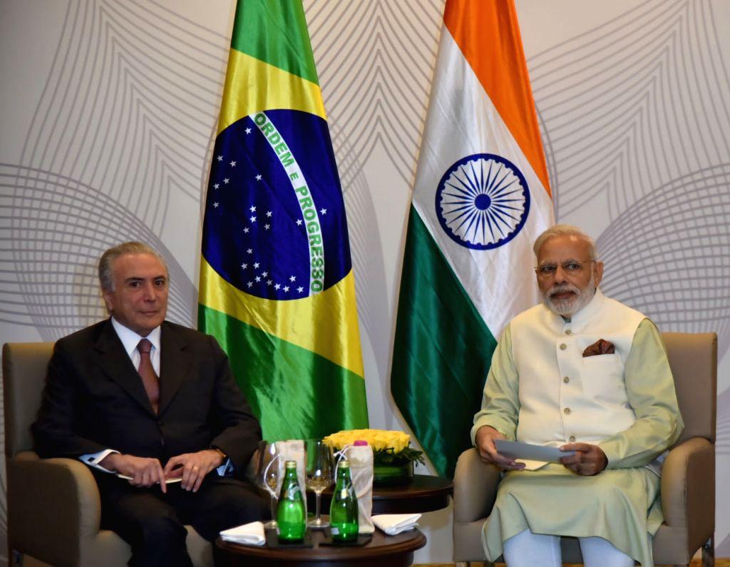Prime Minister Narendra Modi and the President of Brazil, Michel Temer during bilateral meeting, in Goa on October 17, 2016. - Narendra Modi