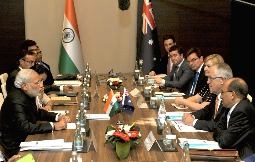 Prime Minister Narendra Modi and the Prime Minister of Australia, Malcolm Turnbull in their first bilateral meeting, on the sidelines of G20 Summit 2015, in Turkey on November 15, 2015. ... - Narendra Modi