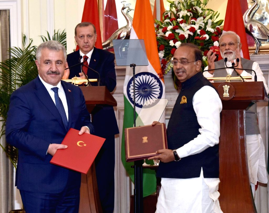 Prime Minister Narendra Modi and Turkey President Recep Tayyip Erdogan witness the exchange of agreements between India and Turkey at Hyderabad House in New Delhi on May 1, 2017. Also seen ... - Narendra Modi