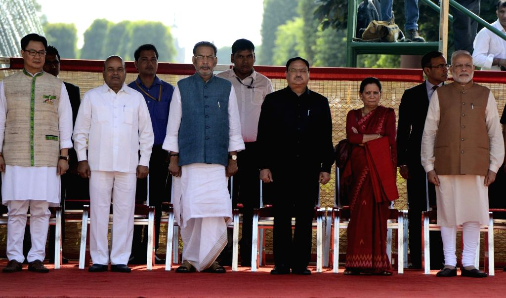 Prime Minister Narendra Modi and Union Ministers Kiren Rijiju, Thawar Chand Gehlot, Radhamohan Singh, JP Nadda with wife of Nepalese Prime Minister Sita Dahal during the ceremonial ... - Narendra Modi, Kiren Rijiju, Thawar Chand Gehlot and Radhamohan Singh